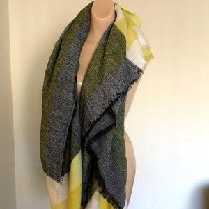 Yellow/Gray/White Acrylic Plaid BlanketShawl Scarf